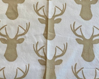 """14""""  x 58"""" wide piece canvas fabric - deer - spoonflower Cotton twill fabric prewashed Willow lane textiles"""