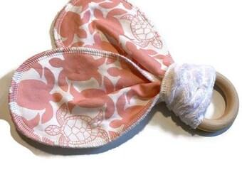 Pink Turtle Baby Teether - Natural Wooden Teether Toy  - Ocean Life Teether- Baby Shower Gift -Sea Turtles Newborn- Infant Teething Ring