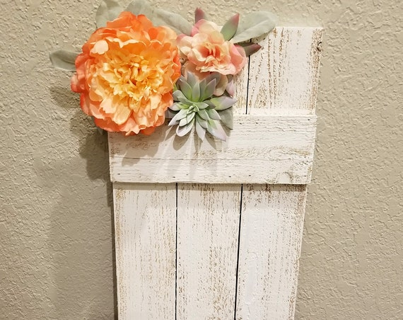 Rustic Wood Shutter with Flower and Succulent accent, Board and Batten, White Shutter