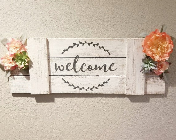 Farmhouse Wood Welcome sign with Flower and Succulent accents