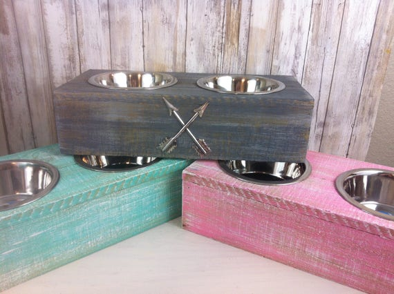 Pink Small Rustic wood Dog Bowl