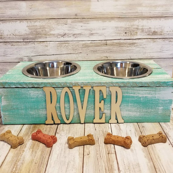 PERSONALIZED rustic Wood Pet Bowls