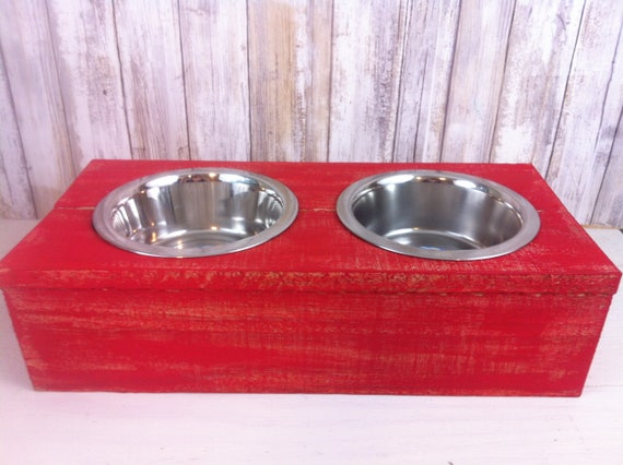Red Small Rustic wood Dog Bowl
