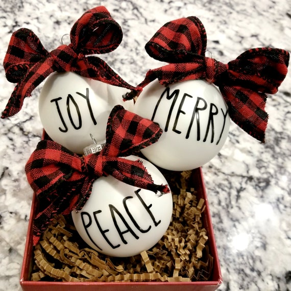 Hand Painted Rae Dunn Inspired Christmas Ornaments Set of 3