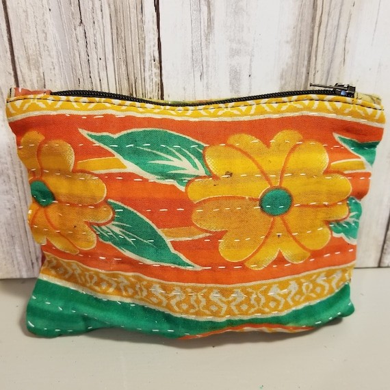 Small Vintage Kantha Makeup Bag
