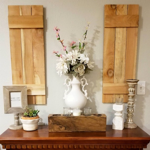 Set of 2 Rustic Wood Shutters, Board and Batten