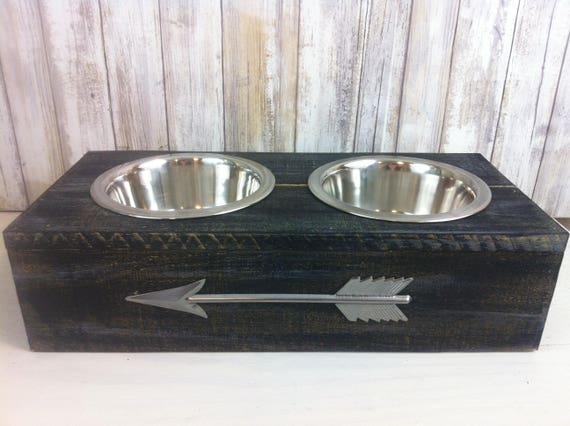 Black Small Rustic wood Dog Bowl with Arrow embellishment