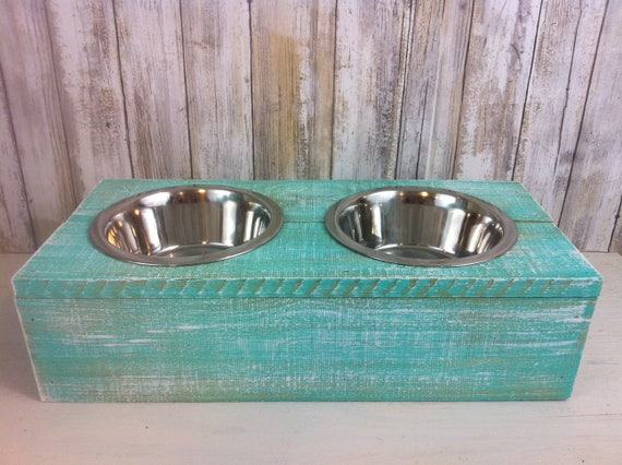 Turquoise Small Rustic wood Dog Bowl