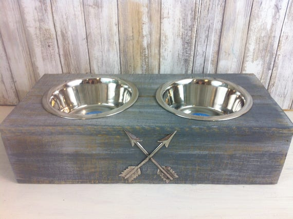 Gray Small Rustic wood Dog Bowl with Arrow embellishment