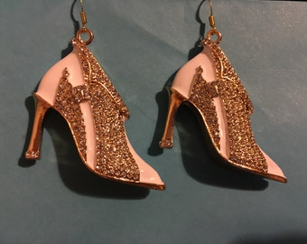 Rhinestone and White with Gold High Heel Stiletto Shoe Earrings  P6
