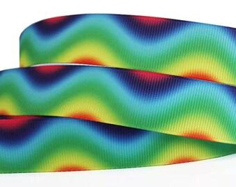 """7/8"""" Rainbow Ribbon by the Yard    AQ62"""