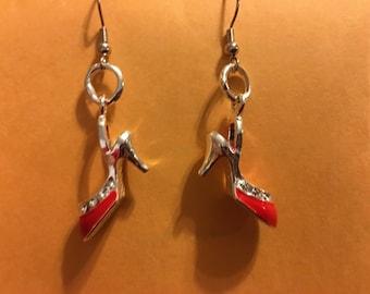 Red High Heel Stiletto Shoe Earrings   L64