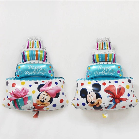 Large Foil Mickey And Minnie Mouse Birthday Cake Balloon S36 Etsy