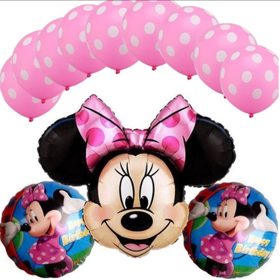 13pcs Pink Mickey Minnie Mouse 2 Years Old Birthday Party Balloons Girls Decor