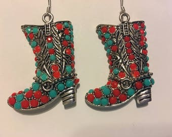 Coral and Turquoise  Boots Earrings  AD37