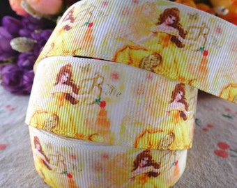 """1"""" Disney Princess Belle of Beauty and the Beast Grosgrain Ribbon by the Yard  R8"""