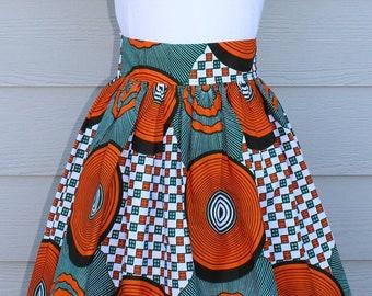 d30311bde African Print Skirt, Knee Length Skirt, Maxi Skirt, Ankara Skirt with  Pockets