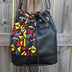 Bucket Bag, Drawstring Bag, African Print Drawstring Bag, Cross Body Bag, African Clothing, Vegan Leather Bag