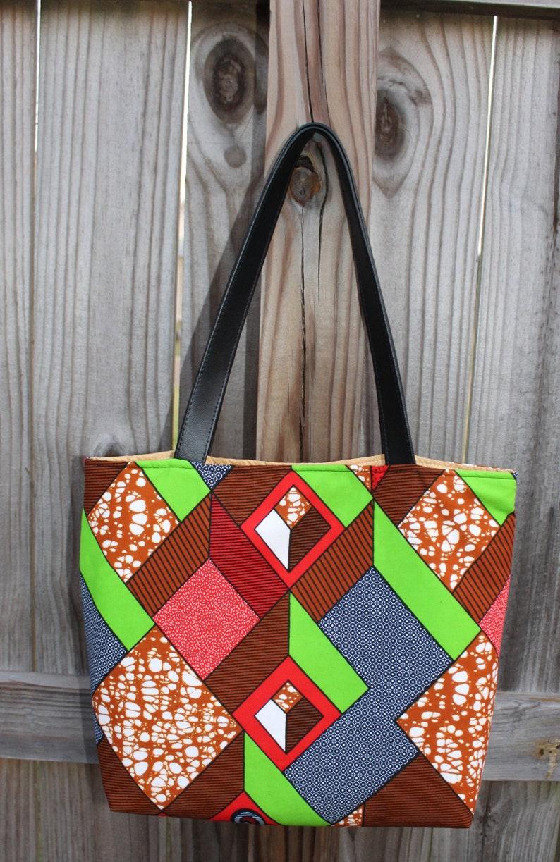 African Fabric Tote Book Bag Ankara Bag Ankara Shoulder image 0
