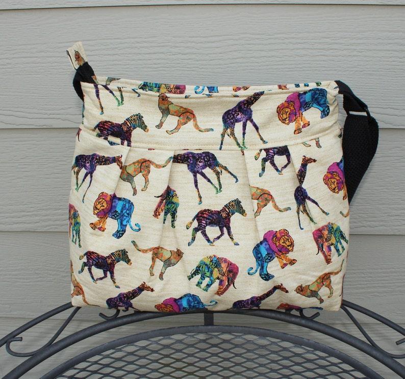 Animal Print Bag Fabric Cross Body Bag Elephant Print Bag image 0