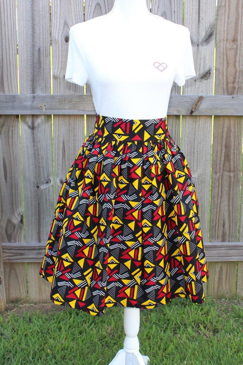 African Print Maxi Skirt with Pocket Knee Length Skirt image 0