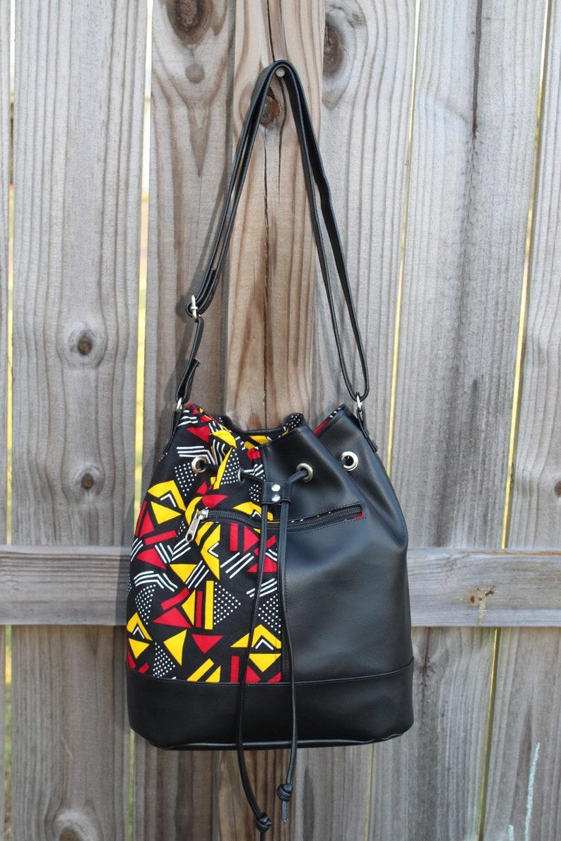 Bucket Bag Drawstring Bag African Print Drawstring Bag image 0