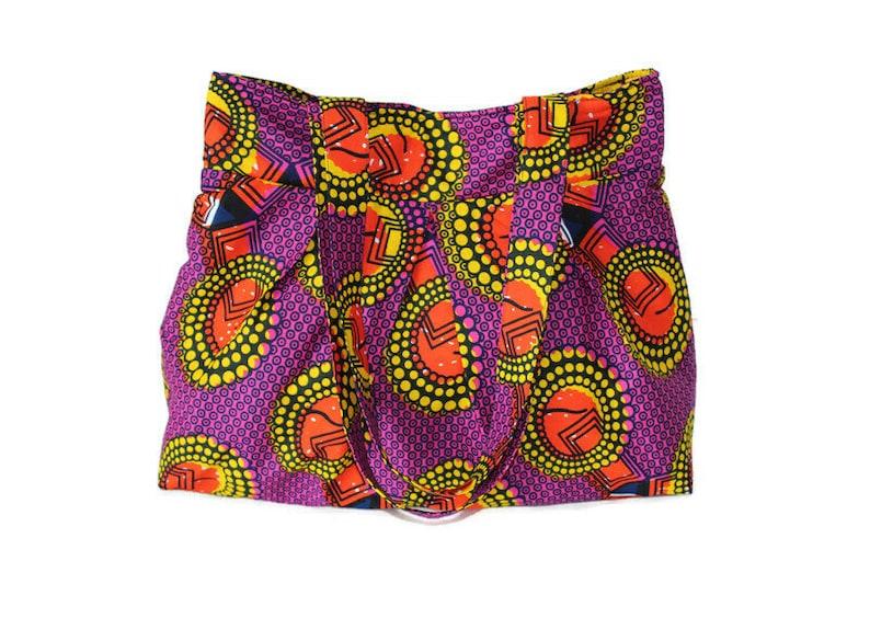 African Print Tote Bag Shoulder Bag Tote with Pockets image 0