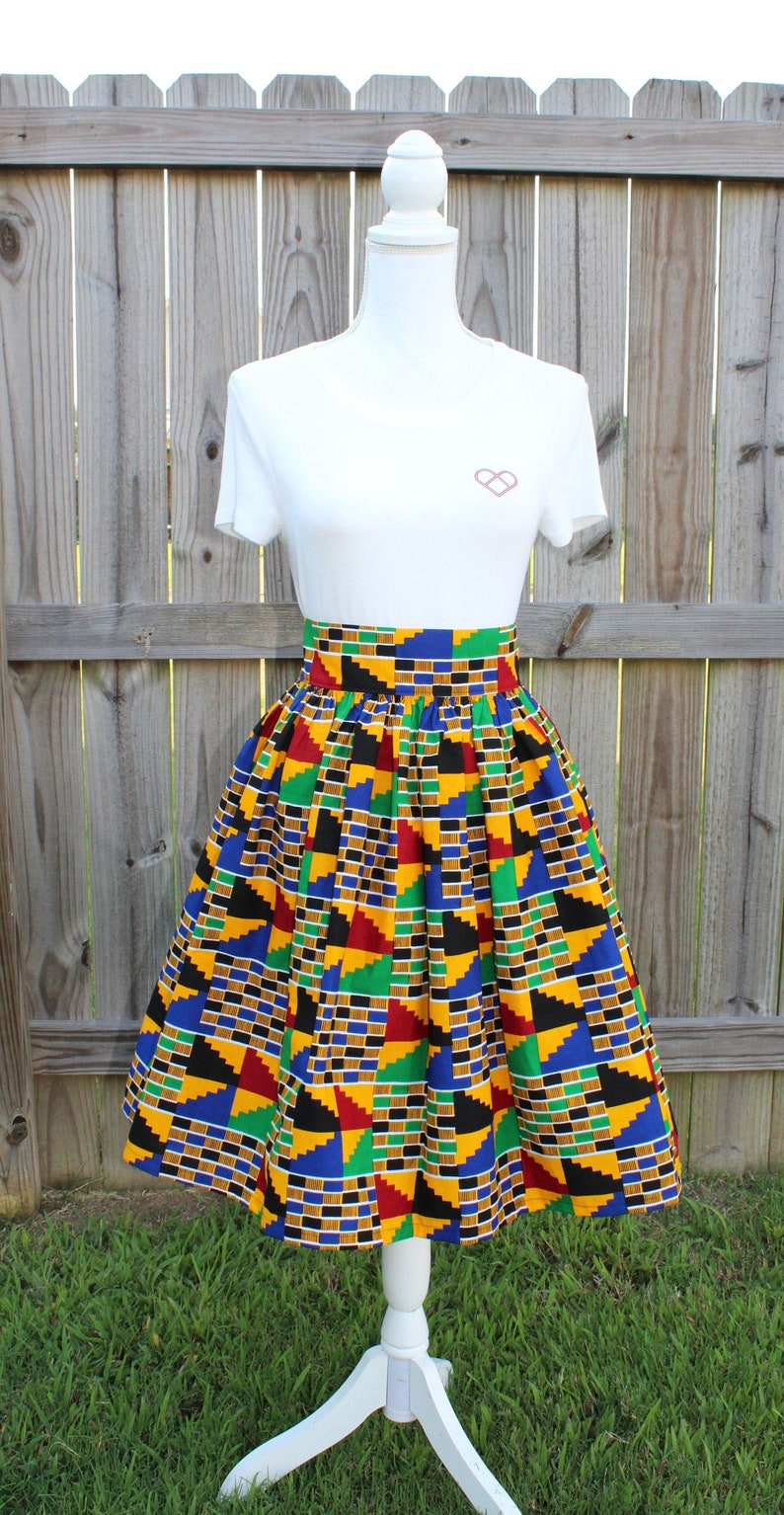 African Print Maxi Skirt with Pocket Knee Length Skirt image 0