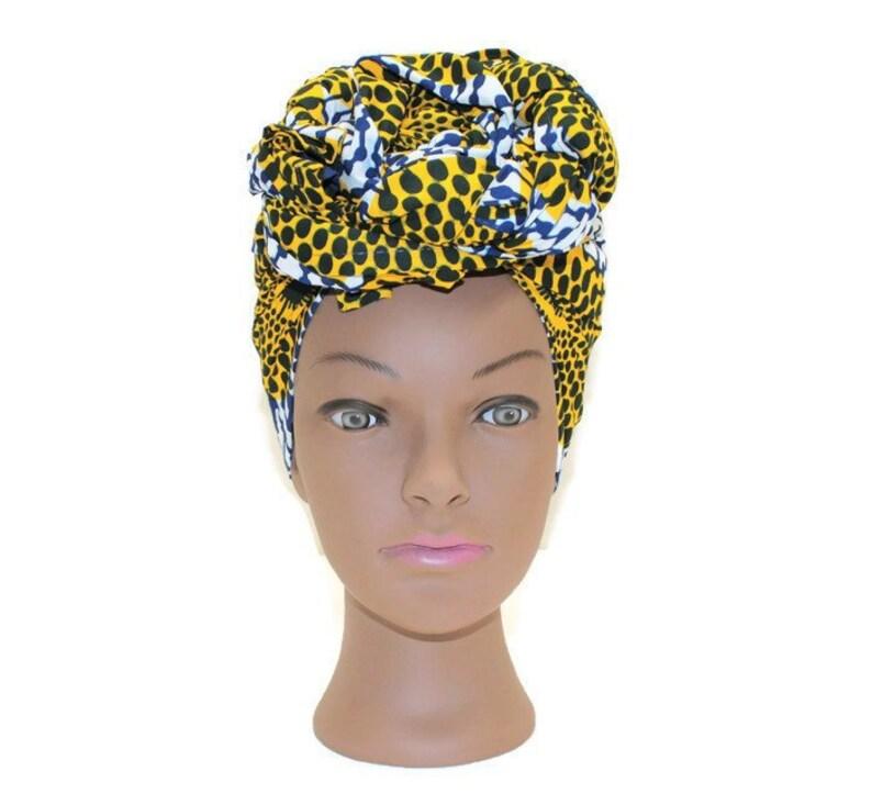 African Print Fabric Head Wrap Turbans for Women Ankara Head image 0