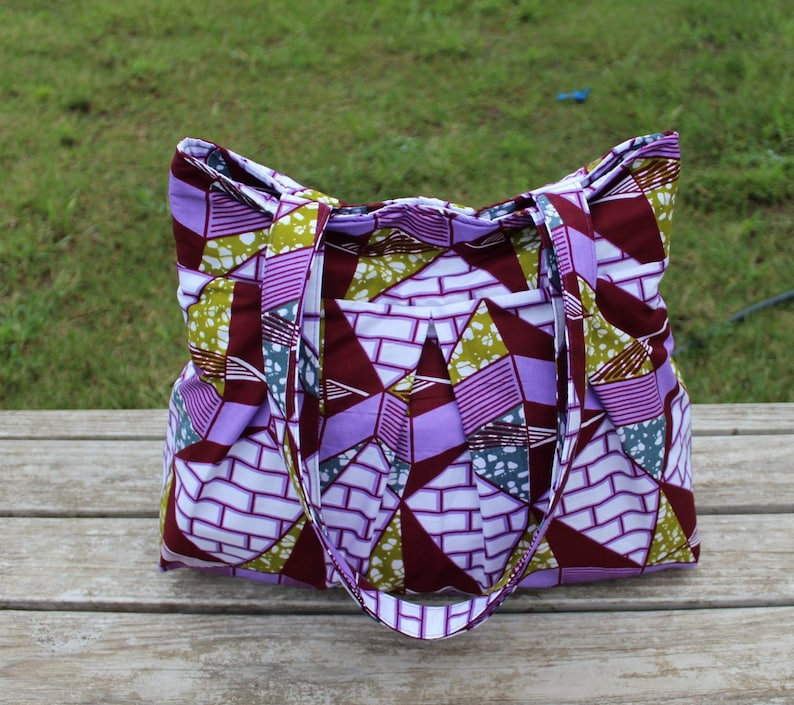 Tote bag with Pockets African Print bag image 0