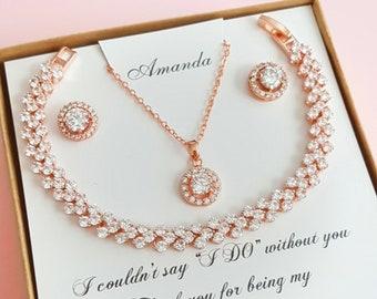 Bridesmaid Gift Bridesmaid Jewelry Set Bridesmaid Earrings Rose Gold Necklace  Bridesmaid Proposal Box Set Personalized Wedding Bridal Gifts f31fe702e
