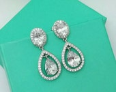 Bridal Earrings Wedding Earrings CZ Crystal WaterDrop Silver Party Dangle Earring VintageHalo Tear Drop Pear Cut Jewelry Women Accessories