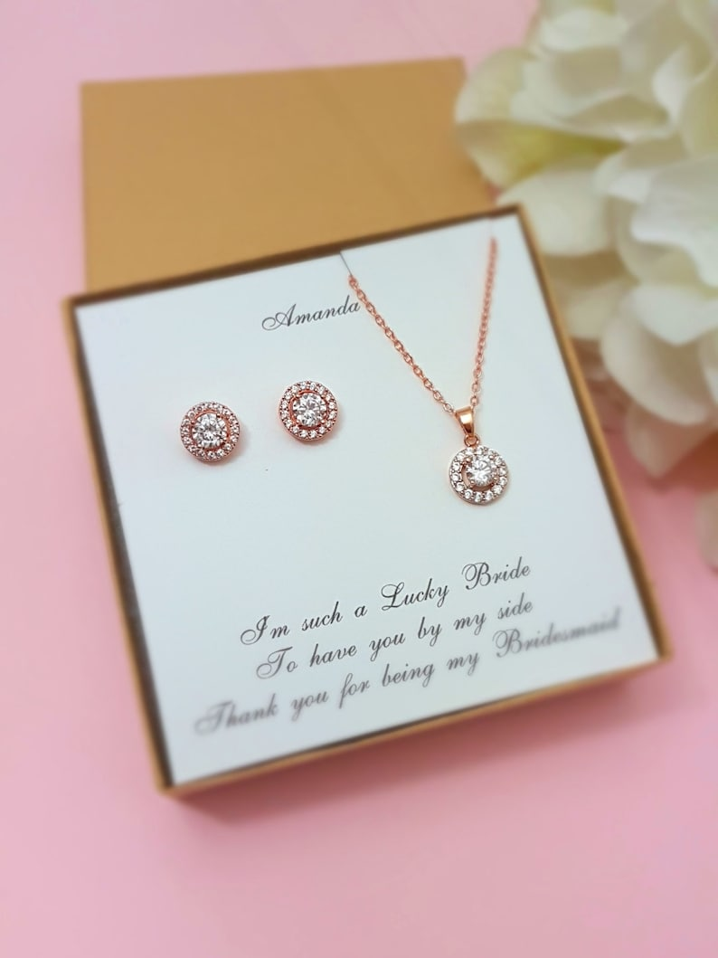 Bridesmaid Gift Rose Gold Bridesmaid Jewelry Set Pear Earrings Round Necklace Bridesmaid Proposal Box Set Personalized Wedding Party Gifts