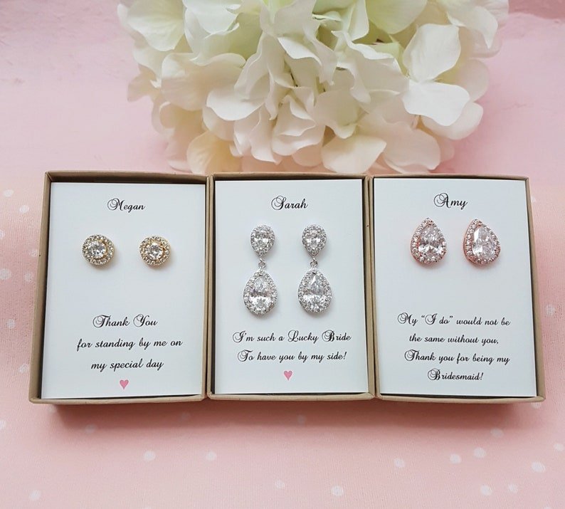 Bridesmaid Gift Rose Gold Bridesmaid Jewelry Set Pear image 0