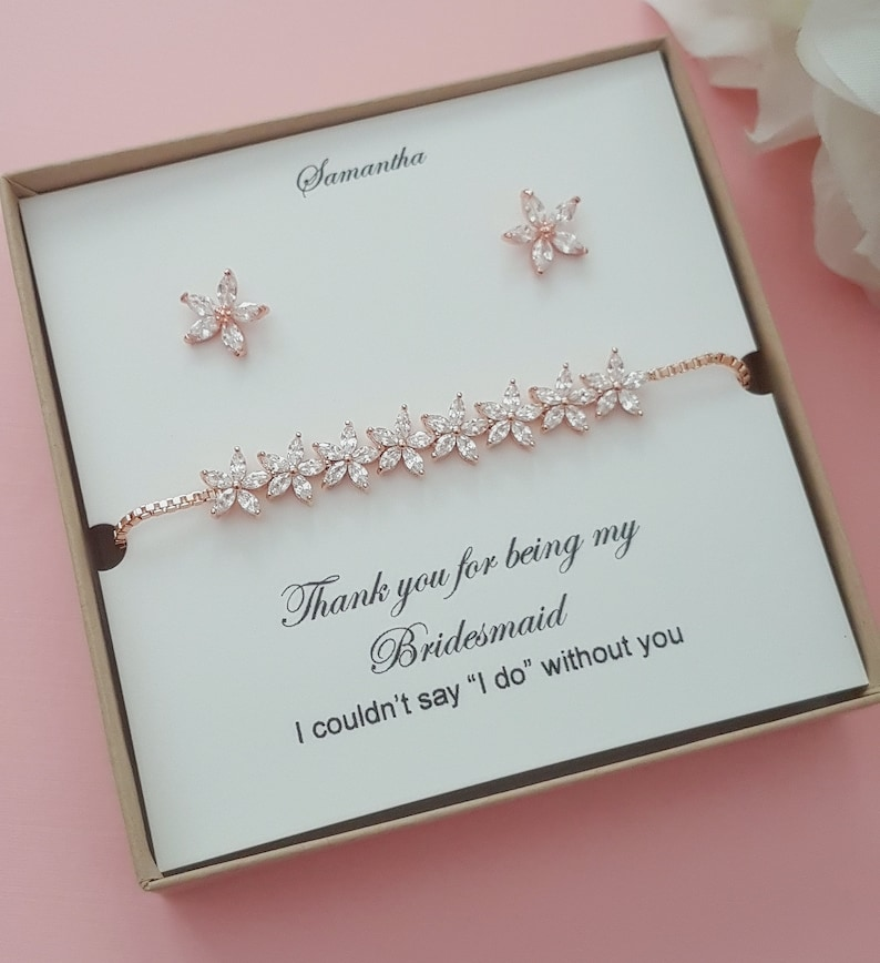 Thank you for being my bridesmaid Jewelry set Rose Gold Teardrop Earrings Bracelet Bridal party set Bridesmaid Earrings Bridesmaid Gifts