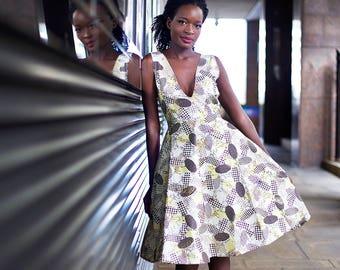 African clothing, African dress, Printed dress, Ankara clothing, Ankara dress, African print dress, plung neckline, Midi dress, unique dress