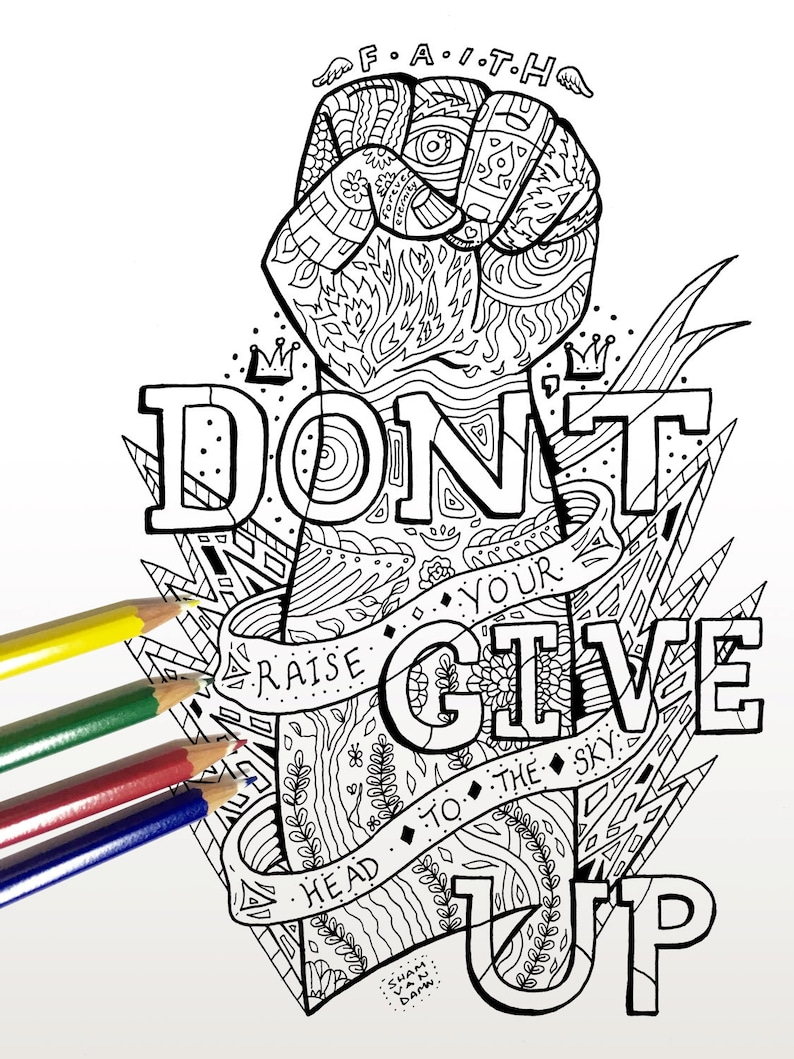 Don\'t Give Up Coloring Page Adult coloring page Art | Etsy