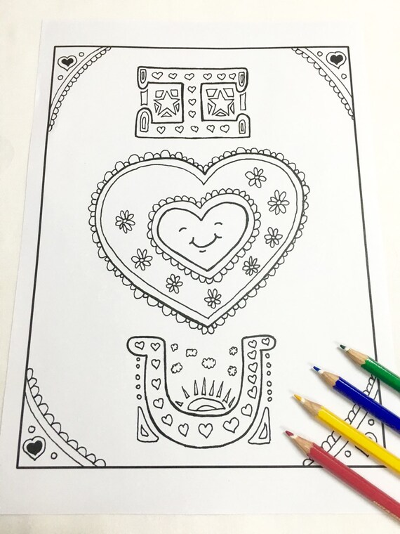 I Love You Coloring page Valentines day Adult coloring page   Etsy