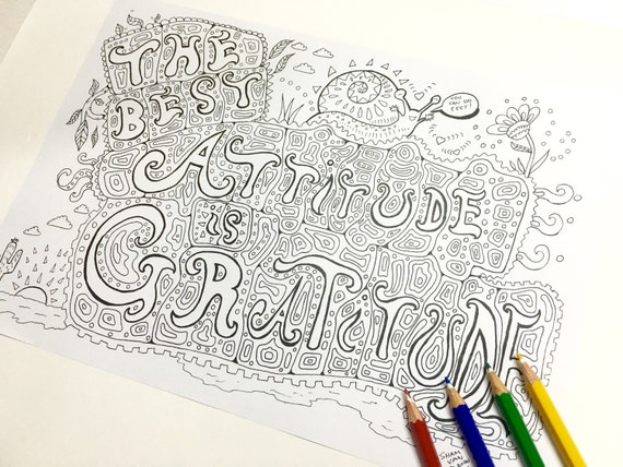 Gratitude Coloring Page Adult coloring page Art Therapy   Etsy