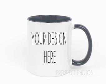 Download Free Black & White Coffee Mug Mockup | black Handle coffee mug | Instagram photos | Product mockup PSD Template