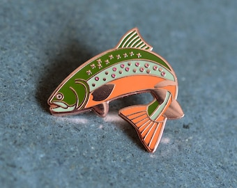 Trout Enamel Pin + Lapel Pin Badge +  Anglers Enamel Pin  +  Brook Trout + Maine Gifts + Outdoor Pin + Fish Pin