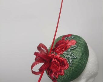 Embroidered forest green pillbox hat