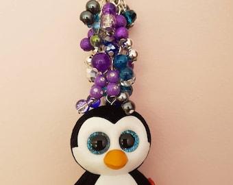 a8784659dd7 Ty beanie boo mini waddles the penguin keyring keychain fob handbag  backpack charm