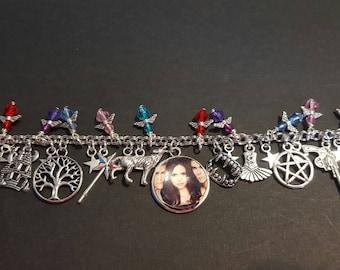 The vampire diaries inspired stainless steel charm bracelet