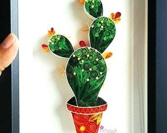 Cactus Plant- Cactus Art- Unique art gift nursery home wall decor- Quilled Paper Art- Cactus decor- Succulent wall art framed.