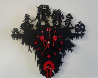 World of Warcraft Horde wooden wall clock