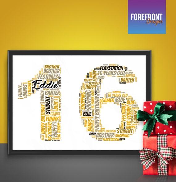Personalised BIRTHDAY Wordart Print 16 18 21 25 30 40th