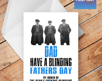 Personalised PEAKY BLINDERS father's day DAD greeting card - any occasion or event/father/daddy/dad/fathers day gift idea/funny/spoof