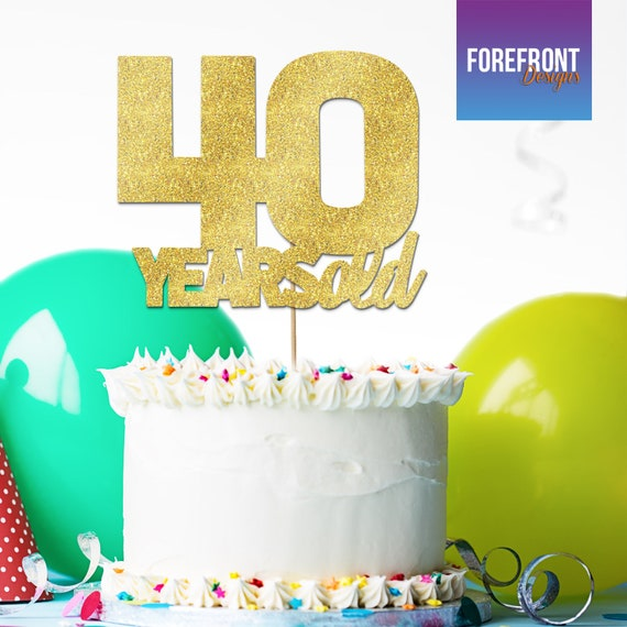 Awesome Personalised 40 Years Old Birthday Cake Topper 12 Colours Etsy Birthday Cards Printable Benkemecafe Filternl