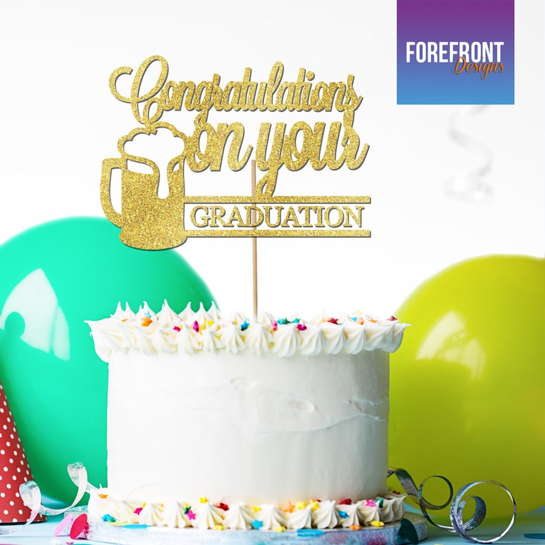 customised for any eventoccasion Any wordingage Custom Congratulations Graduation Beer Cake Topper 12 GLITTER colours